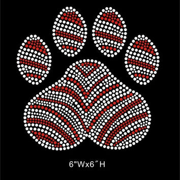 Paw print hotfix iron on rhinestone transfer - DIY zebra paw mascot school transfer - shirts tees