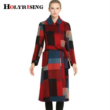 Holyrising plaid fasion women long coat manteau femme winter jacket women abrigos mujer casaco feminino #150766