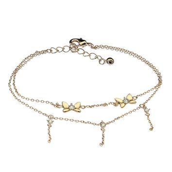 Women's Butterfly Charm Bracelet Swarovski Element Tennis Bangle Crystal Jewelry for Woman Aluminum Plated