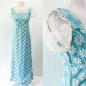 Meadow dress // 60s bright cerulean taffeta & sheer white daisy lace empire waist maxi // regency style // size S