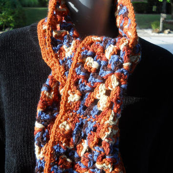 Granny Square Crochet Scarf in Rust, Brown and Blue