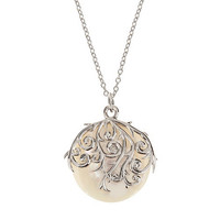 Silver mother-of-pearl circle pendant at debenhams.com
