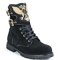 Balmain - Embroidered Suede Ranger Boots - Saks Fifth Avenue Mobile