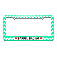 Barrel Racing Love with Hearts - License Plate Tag Frame - Teal Chevrons Design