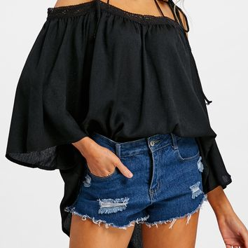 Flare Sleeve Open Shoulder Cover Up Top