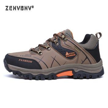 Zenvbnv Men Sneakers Leather Waterproof Hiking Shoe Track Abrasion Resistance Outsole Deodorant Breathable Insole Trekking Shoes