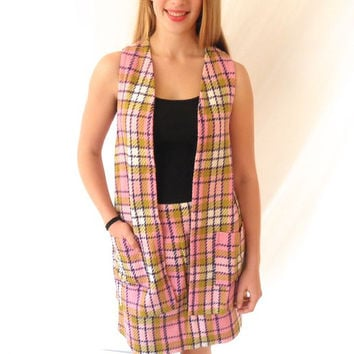 Vintage 1970s Pink Plaid Two Piece Set Mini Skirt Long Vest School Girl Size Medium Brady Bunch