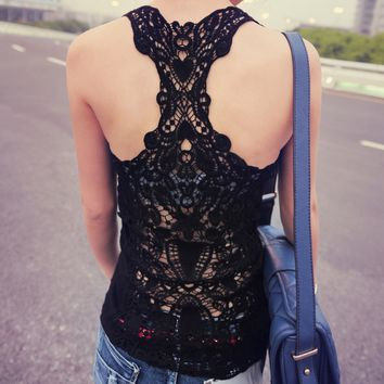 Black Cut-Out Lace Crochet Vest