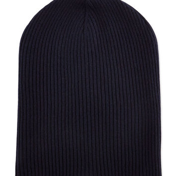 Cashmere Ribbed Hat w/Foldover Brim, Navy/Oatmeal, Size: LARGE, NAVY - Brunello Cucinelli