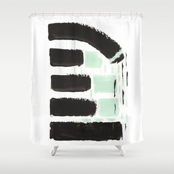 Minimal black & mint Shower Curtain by vivigonzalezart