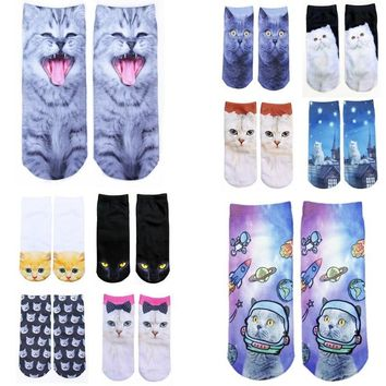 1pair cartoon 3D Printed Cotton Skeleton funny socks Terror novelty Animal cat Cute funny Low Cut Ankle  Women Socks
