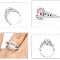 Radiant Morganite Engagement Ring Split Shank with Diamond Halo Morganite Ring Custom Bridal Jewelry