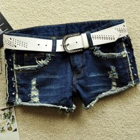 Fashion Stud Embellished Denim Shorts - OASAP.com