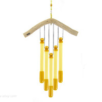 Amber Glass Wind Chime, Amber Windchime, Amber Wind Chime, Glass Chimes