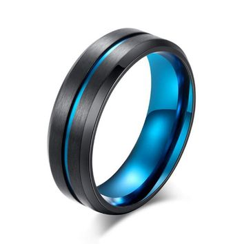 Wedding Ring for Men and Women Stainless Steel Blue Gold Color Groove Ring Matte Finish Black Titanium Band Ring