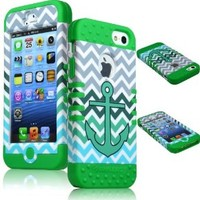 BasTexWireless Bastex Heavy Duty Hybrid Case for Apple iPhone 5 - Green Silicone with Anchor Chevron Hard Shell