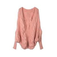 Collections - Vintage Style Pink Knit Oversized Cardigan