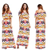 Long Maxi Floral Printed Boho Casual Dresses Mermaid Trumpet Off Shoulder Elegant Women Party Dress Hot Selling Cheap