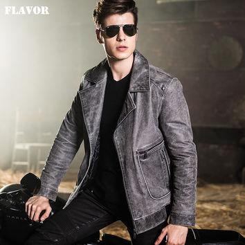 Men's motorcycle jackets real leather jacket pigskin denim style jackets Genuine Leather jacket men leather coat