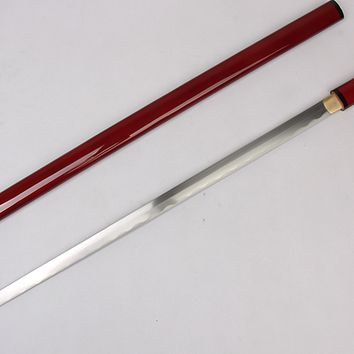 Red Handmade Japanese Shirasaya Samurai Sword Carbon Steel From JL Rocken