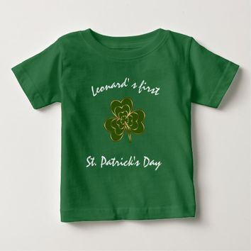 Baby's First St Patrick's Day Shamrock Monogram Baby T-Shirt