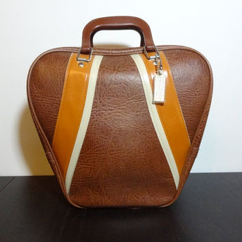 Vintage Retro Style Brown. Burnt Orange, and White Bowling Bag/Carry On Luggage with Metal Feet