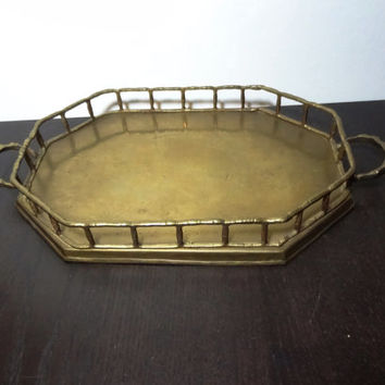 Vintage Brass Octagonal Bamboo Shaped Vanity/Dresser Tray with Handles - Mid Century Modern/Hollywood Regency