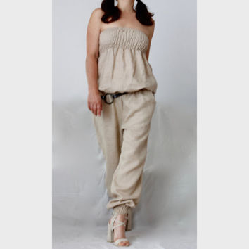 Plus Size Strapless Harem Jumpsuit  /Easy Strapless One Piece Romper / Linen Wide Legs Jumpsuit/