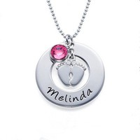 Adorable Personalized Baby Name Baby Feet & Crystal Birthstone Charm Pendant Necklace Gift Idea New Mom Mother Baby Shower Gift Wife Women's Jewelry Accessories