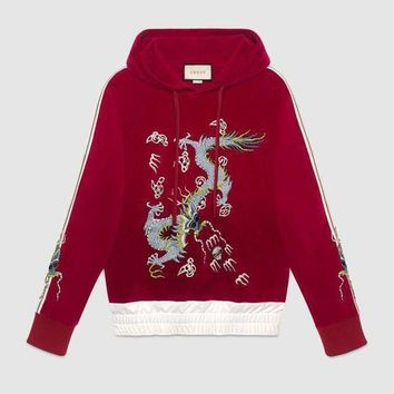 Gucci Women Man Fashion Casual Embroidery Top Sweater Pullover Hoodie
