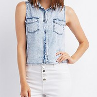 CHAMBRAY COLLARED CROP TOP