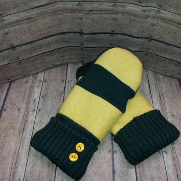 Green and Yellow Fleece Lined recycled sweater mittens, upcycled sweater mittens, ladies sweater mittens, sweater mittens lined with fleece