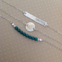 Set of 3 sterling silver bracelets/ turquoise/silver bar/ turquoise beads / bar / disk pendant / gift