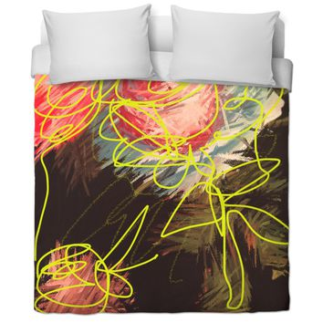 ROB Flowers For Bed Time Duvet Cover