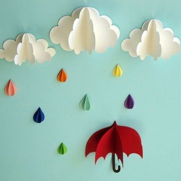 Red Umbrella  3D Wall Art by goshandgolly on Etsy