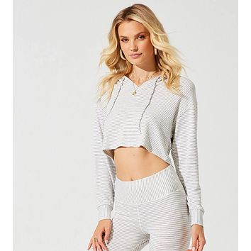 Beach Bunny Grey Cream Cameron Crop Hoodie Separate