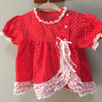 Sweet Baby Dress Red with White Polka Dots, White Lace Trim, button close.  Red polka dot top, Puffed Short Sleeves. Vintage babydoll top
