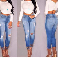 2015 high waist skinny tight long  jeans pencil Stretch ripped Denim pants plus size for womans woman female