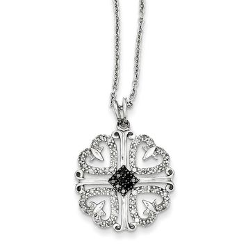 1/3 Cttw Black & White Diamond 4 Heart Necklace in Sterling Silver