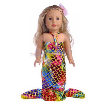18 inch Dolls Clothing Mermaid Tail Swimsuit Swimwear for 18'' American Girl Our Generation My Life Journey Doll Accessories