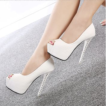 Open Toe Platform Rhinestone Super Stiletto High Heels Sandals