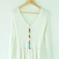 Beaded V-Neck Long Sleeve Peplum Knitted Cardigan