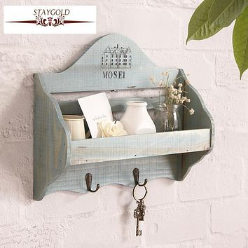 Staygold Zakka Wall Storage Finishing Rack With Coat Hooks Woody Kitchen Storage Key Holder Home Decoration Accessories