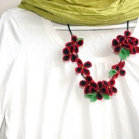 Beautiful Felt Poppy Necklace