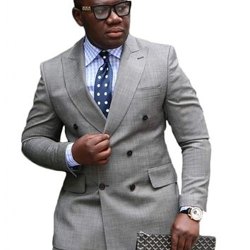 Botong Grey Double Breasted Wedding Suits for Men 2 Pieces Men Suits Groom Tuxedos