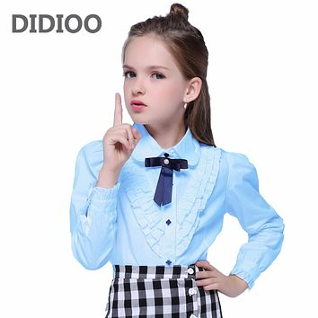 f2da60277cc83d Teenage White Blouses For Girls Formal Clothes Turn-Down Collar