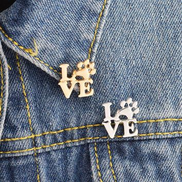 Trendy Love Paw Brooch Animal Pet Dog paws Cat Kitten Claw Pins Buckle Gold Silver Pin Denim jacket Sweater Pin Badge Jewelry Gift AT_94_13