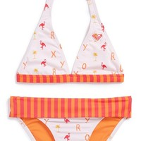 Girl's Roxy 'Flamingo Beach' Two-Piece Swimsuit
