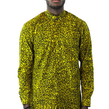 African Print Men Shirt - Yellow Black Vine Floral