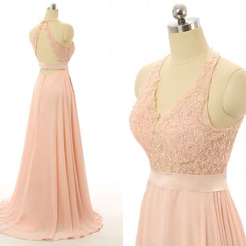 Sexy Open Back Hoter V Neck Sequin Beaded Lace Applique Long Peach Chiffon Bridesmaid Dress Prom Dress